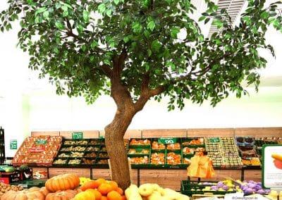 Kunstbaum ohne Früchte mit geschwungenem Stamm (Glasfaser) in einem Fruchthaus.