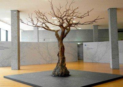 Kühl und elegant (Krone ca. 400 cm, RH ca. 350 cm). Großer Kunstbaum ohne Blätter.