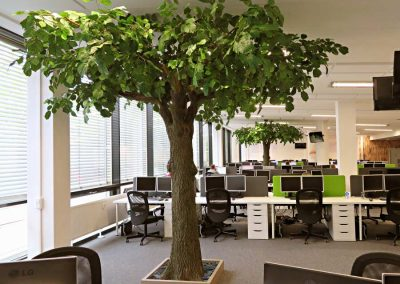 Dekorative Kunstbäume (Höhe: 300 cm) in einem Großraumbüro.