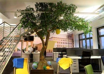 Kunstbaum mit gegabeltem Stamm (Höhe: 400 cm; Baumkrone: 450 cm).