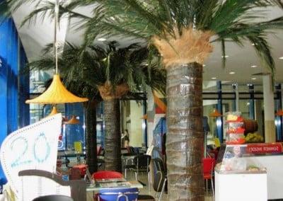 Die Stützpfeiler wurden mit Kunstpalmen (Stützenverkleidungen, rund) verkleidet