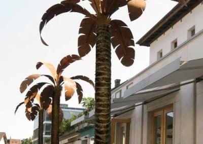 Kunstpalmen mit Metallwedeln für Außen