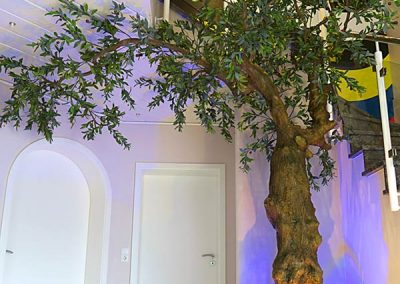 Treppenaufgang mit künstlichem Olivenbaum